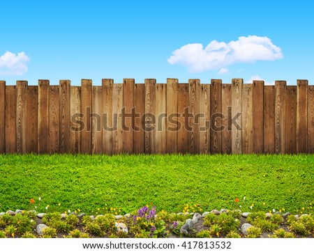 garden fence - stock photo
