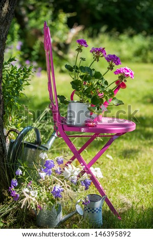 Garden flowers with watering cans and chair