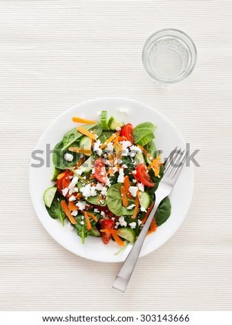 Garden fresh salad with feta cheese on white background - stock photo