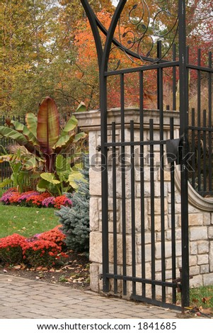 garden gate at Inniswood Gardens in Columbus, Ohio - stock photo