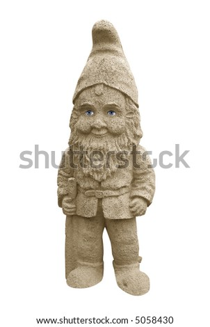Garden Gnome with real eyes isolated over white with a clipping path - stock photo