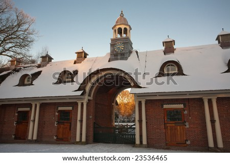 Garden in Nijmegen, The Netherlands covered with snow - stock photo