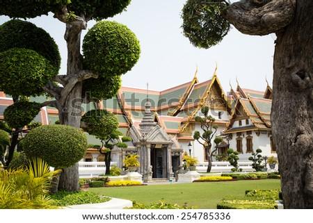 Garden in the Grand Palace, Bangkok, Thailand. - stock photo