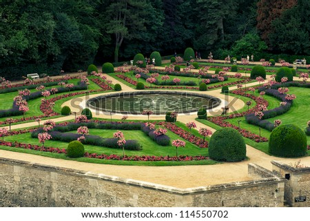 garden in the loire - stock photo