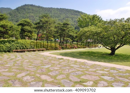 Garden landscape on a sunny day, in the summer/Garden landscape on a sunny day - stock photo