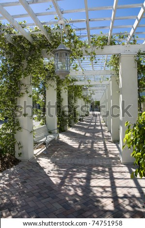 garden lattice walkway with stone pavers and vine flowers throughout the trellis work