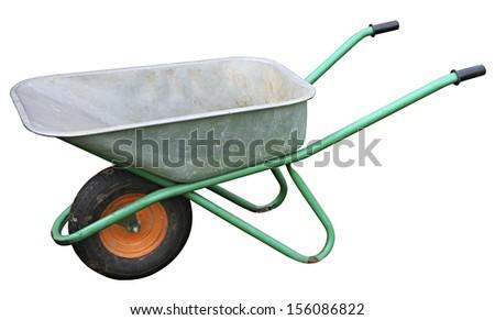 Garden metal wheelbarrow cart isolated on white  - stock photo