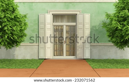 Garden of an old house with closed window and shutter - 3D Rendering - stock photo