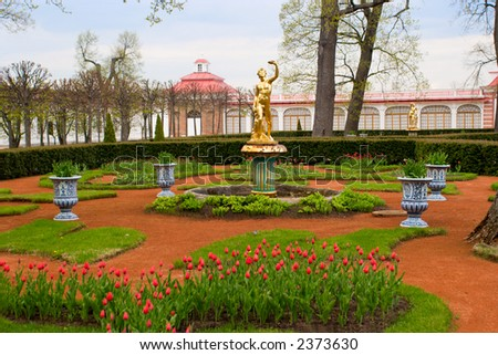 Garden of Monplaisir palace. Peterhof. Saint-Petersburg. Spring.