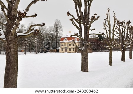 garden of Moritzburg castle in winter,Germany - stock photo
