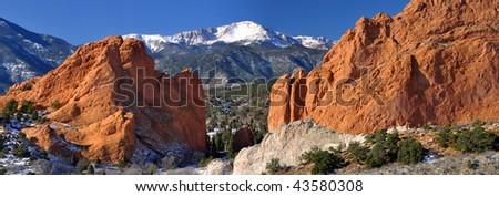 Garden of the Gods Panarama with snowcapped Pikes Peak near Colorado Springs, Colorado - stock photo