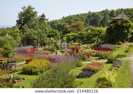 Garden of the Mohonk Mountain House Resort (built in 1879), Shawangunk Mountains, New York State, U.S.A.  - stock photo