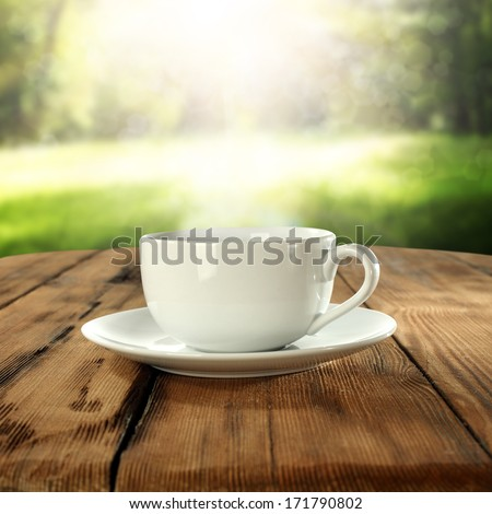 garden party and cup  - stock photo