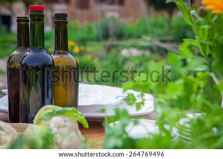 garden party meal with wine and healthy food