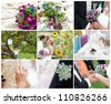 Garden party wedding - collage of images - stock photo
