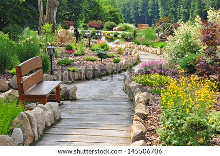Garden path, beautiful park - stock photo