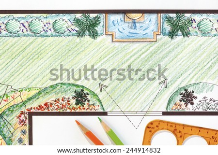 Garden plan with wall fountain. - stock photo