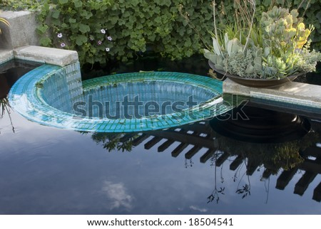 Garden Pool Reflection - stock photo
