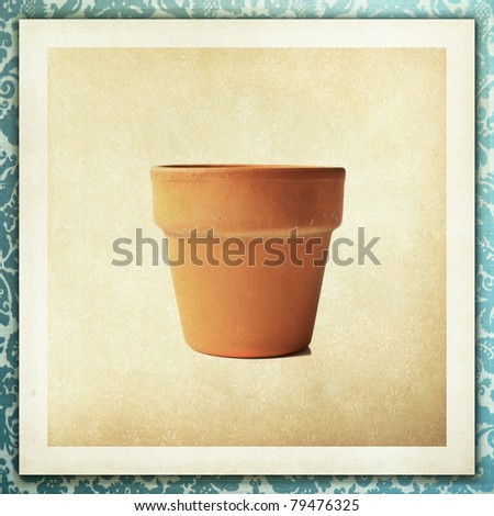 Garden pot with antique lace texture - stock photo