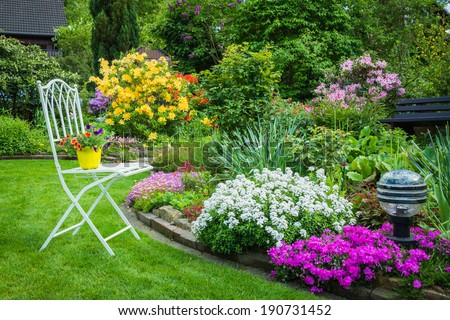garden, romance, idyll, spring - stock photo