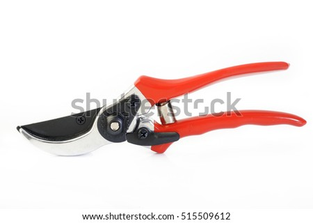 garden secateurs on white background