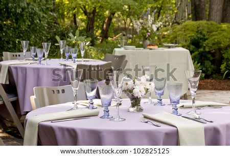 Garden Set Up For A Outdoor Party, Tables With Dessert Table In The  Background