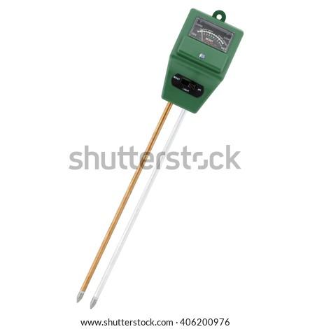 Garden soil tester,  PH, moisture and light meter analyzer - stock photo