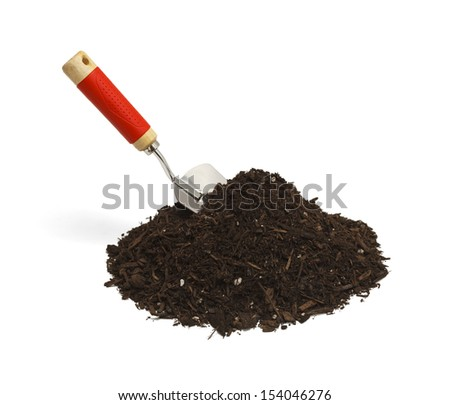 Garden Soil with Hand Shovel Isolated on White Background. - stock photo