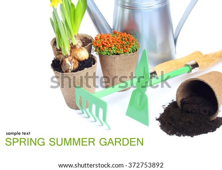 Garden Spring Summer Tools isolated white background