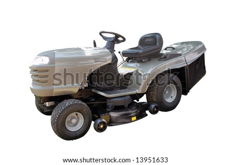 garden tool lawnmower isolated - stock photo