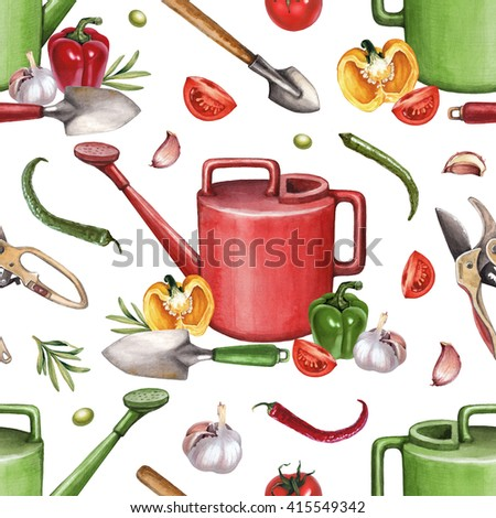 Garden tools and vegetables watercolor illustrations. Seamless pattern