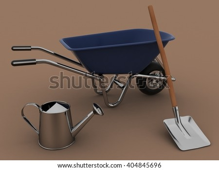Garden tools. Garden wheelbarrow, watering can and a shovel. 3d illustration on a white background - stock photo