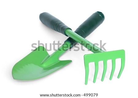Garden tools on white background - stock photo