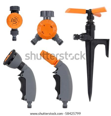 garden tools set isolated over white background - stock photo