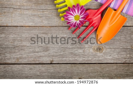 Garden tools with flower on wooden table background with copy space - stock photo
