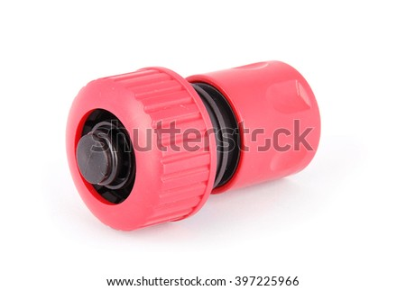 Garden water hose nozzle and connectors isolated on white background - stock photo