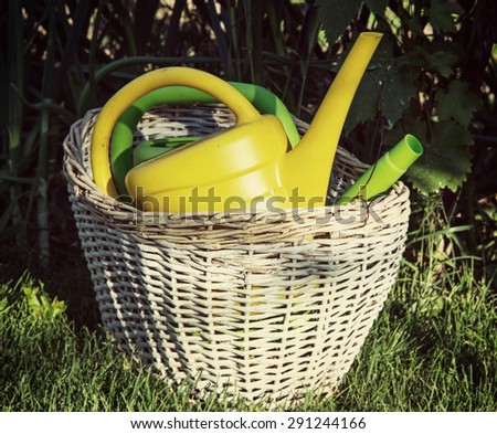 Garden watering cans in the wicker basket. Gardening theme. - stock photo