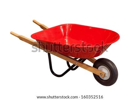 Garden wheelbarrow cart isolated on white background - stock photo
