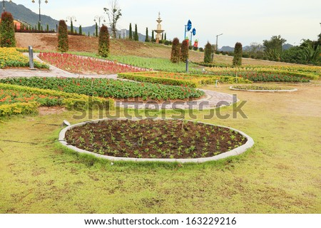 garden with flowers in Thailand - stock photo