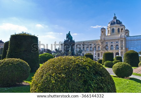 Garden with Maria Theresa statue in front of Natural History museum on Maria Theresa square in Vienna, Austria