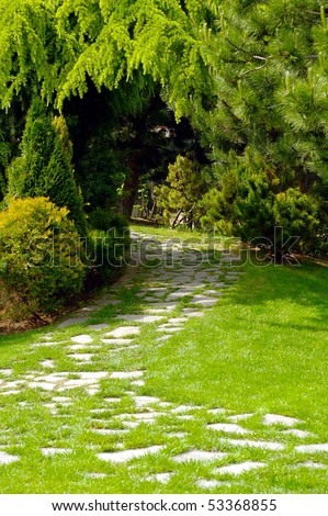 Garden with paved path and luxuriant vegetation - stock photo