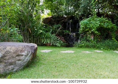 garden with stone path - stock photo