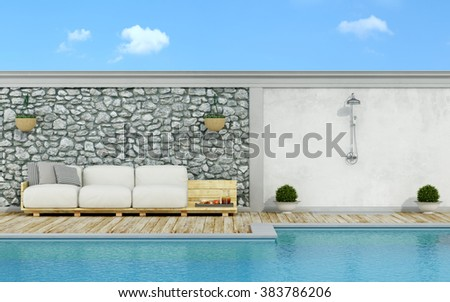 Garden with stone wall, swimming pool,pallet sofa and shower  in a sunny day - 3d Rendering - stock photo