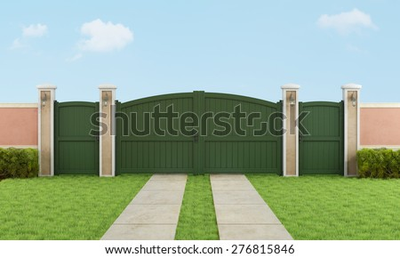 Garden with  vehicular and pedestrian gate - 3D Rendering - stock photo