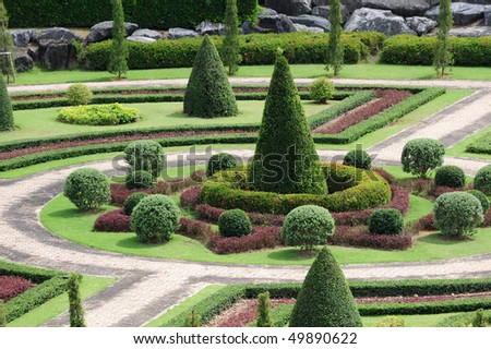 Garden with walking path - stock photo