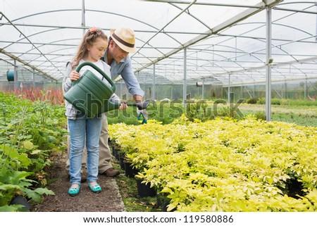 Gardener helping granddaughte watering plants in greenhouse - stock photo