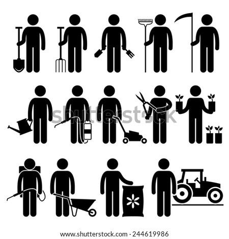 Gardener Man Worker using Gardening Tools and Equipments Stick Figure Pictogram Icons - stock photo