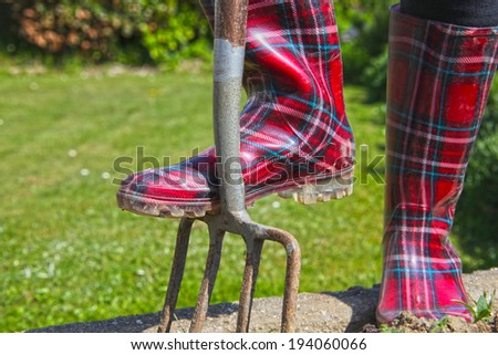 Gardener stands with tartan wellington boots on her spade, Scotland. - stock photo