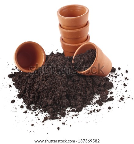 gardening flowerpot and soil heap isolated on a white background - stock photo