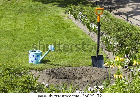 Gardening , planting, garden tools outdoors  - stock photo